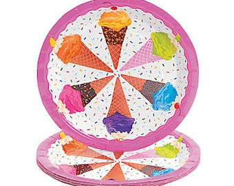 I love Ice cream Party dinner plates  / Ice cream theme party / Ice Cream Party / Ice Cream