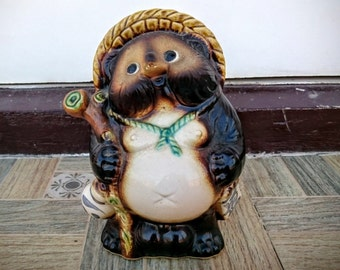 Old Medium Sized Black Shiny Tanuki Raccoon Clay Porcelain Statue