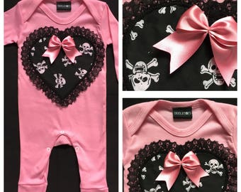 Skeletots pink & black skull footless romper lace rock baby goth 0-3m to 12m