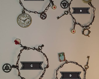 Alice inspired bracelets in bronze