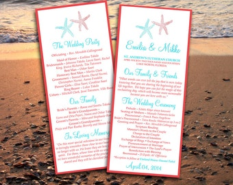 "Beach Wedding Program Template Download ""Lazy Starfish"" Coral Red, Light Turquoise Ceremony Program - Printable Tea Length Wedding Program"