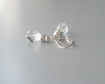 Crystal and Pearl Teardrop Earrings, Bridal Earrings, Wedding Jewelry, Bridesmaid Jewelry, Weddiing Party Gift, Special Occasion Jewelry