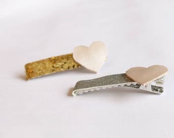 Silver/Gold and Pink Heart Hair Clips - Valentine's -Hair Accessories - Hair Clips