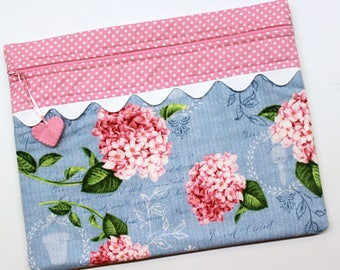 Pink Hydrangeas Cross Stitch Embroidery Project Bag
