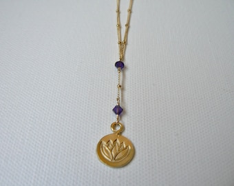 Gold Lotus Pendant Necklace with Gold Amethyst Lotus Necklace, Gold Lotus Flower Necklace, Gold Lotus Necklace, February Birthstone Necklace
