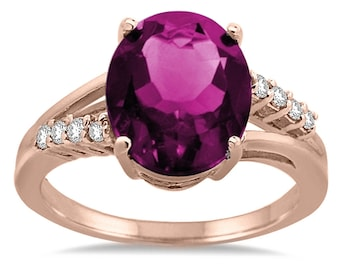 Oval Shaped Pink Topaz and Diamond Ring in 10K Gold