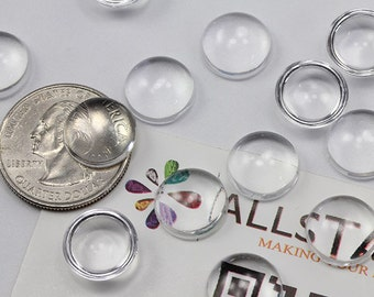 """13mm 33/64"""" Round Clear Magnifying Transparent Loose Acrylic Flat Back Cabochons High Quality Pro Grade - 50 Pieces"""