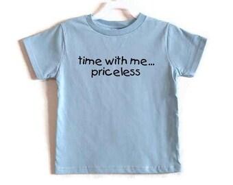 Leichte blaue Screenprinted Childs Tshirt Zeit mit mir unbezahlbar