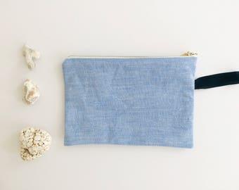 Linen Zip Pouch - Blue/White/Black