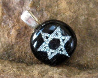 Silver Star of David Pendant, Dichroic Star of David, Petite Silver Fused Glass Dichroic Star of David Pendant