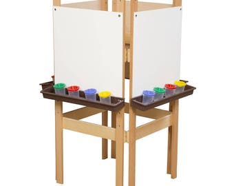 Classroom Easel, 4-Sided Adjustable Kid's Art Easel with Markerboard Art Surface and Brown Trays