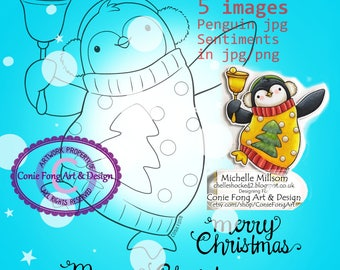 SALE-Digital Stamp, Digi Stamp, Digistamp, Jingle Penguin by Conie Fong, Penguin, Christmas, candy cane, coloring page