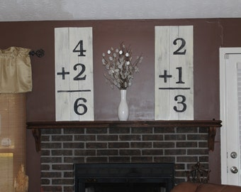 2 Large Wooden Numbers Signs Wall Art - Nursery, living room, hallway decor large statement piece equation math baby christmas flash cards