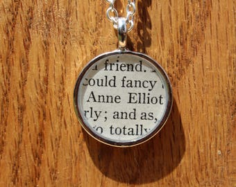 Anne Elliot - Persuasion Book Page Pendant Necklace - Jane Austen - Literary Jewelry - Book page jewelry