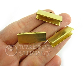 20 Raw Brass 25x10mm Ribbon Crimp Ends with Loop, Fasteners Clasp Findings, Ribbon Ends Clamps, Raw Brass Findings EK759