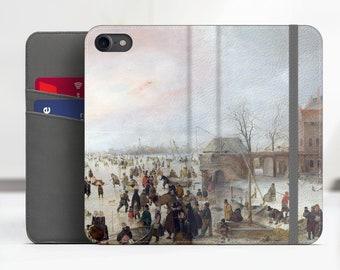 "Avercamp ""A Scene on the Ice"" iPhone 7 folio case Samsung Galaxy S8 folio case iPhone 8 folio Phone cover for iPhone, Samsung. WC-HAV-01"