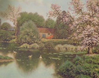 """G.P. 5236 Lithograph """" Lake House with Cherry Blossoms"""""""