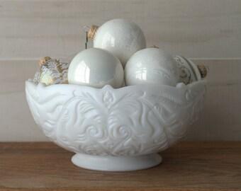 Large Milk Glass Serving Bowl, Ornate Pres Cut Glass Bowl
