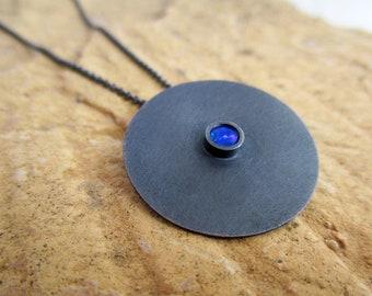 Opal Pendant, Oxidized Silver Pendant, Dainty Pendant, Gemstone Necklace, Disc Necklace, Minimal Necklace, Contemporary Necklace, KIMYAJOYAS
