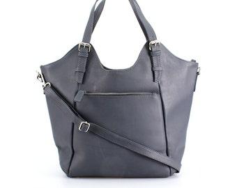 Gray Leather Handbag, Bag Purse Tote