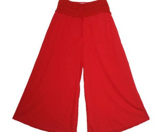 Candy red summer pants Palazzo pants size S women BOHO galligaskins pants Hippie wide pants crochet lace belt pants Fashion Trend 2018 pants