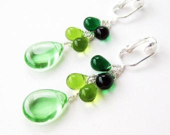 Green Clip On Earrings, Spring Green Glass Teardrop Dangle Clipons, Emerald Green Glass Drop Earrings for Non Pierced Ears, Shades of Green