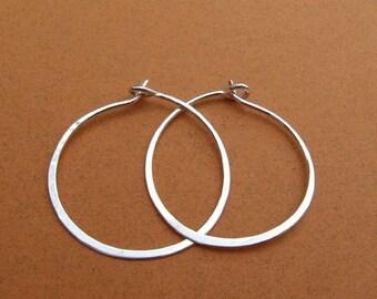 sterling silver hammered hoops  1-1/4 inch 1.25 inch 20ga 18ga