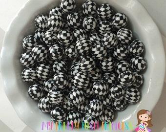 20mm Black & White Hoodtooth Chunky Bubblegum Beads Set of 10