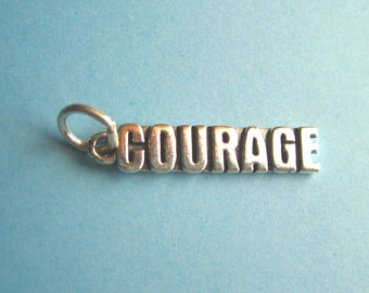 Sterling Silver COURAGE Tag Charm