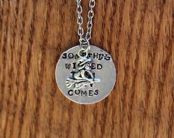 Macbeth Metal Stamped Quote Necklace - Something wicked this way comes - Shakespeare Literary quote