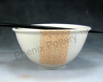 Noodle Bowl Porcelain Bowl 24 oz Orange and White Chopstick Bowl, Pho Bowl, Rice Bowl, Soup Bowl, Stir Fry Bowl Hand Thrown Porcelain