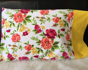 Spring Floral/Pillowcase/Pillowcasesforcancer/Childhood Cancer Donation with each purchase!