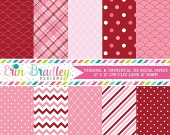 80% OFF SALE Digital Scrapbook Papers Personal and Commercial Use Pink and Red Holiday Medley Instant Download