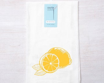Tea Towel - Lemon - Screen Printed Flour Sack Towel - Dish Towel - Citrus - Cotton Kitchen Towel - Mothers Day Gift