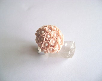 Handmade Peach Pink Flowers Polymer Clay Adjustable Ring. Clay flowers Ring