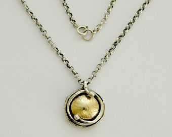 Sterling silver pendant, yellow gold pendant, two-tone necklace, hammered gold pendant, oxidized silver necklace - Walking in circles N8980G