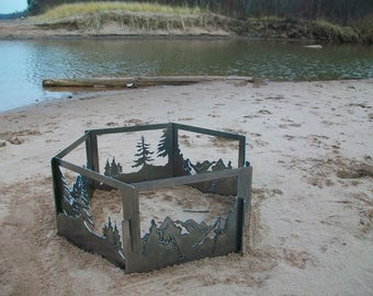 Fire Pit Decorative Portable Metal - Mountain & Forest