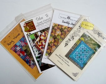 LOT Destash Quilt Patterns, Quarters Quilts, Rag Time, Earthly Stars, Take 5 Goes Crazy, Most New