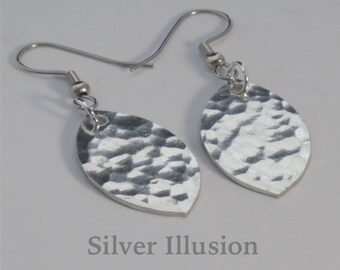 Hammered earrings, oblong pewter earrings, silver substitute, silver alternative, simplistic and minimalistic jewelry