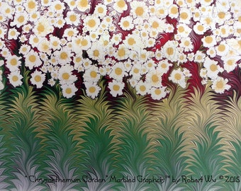 Daisy Garden - Original Marbled Graphics™ by Robert Wu, Hand Marbled Paper, Marbling Ebru Art