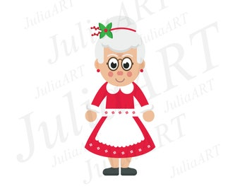 cartoon mrs santa vector image