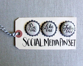 Social Media Pinback Buttons, Hand - Lettered Calligraphy, Cursive Lettering, Funny Button Pins, Social Networking, Novelty Gift
