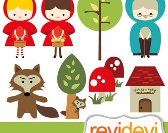 Little Red Riding Hood Clipart / commercial use digital clip art, instant download, girl, hiding wolf clipart