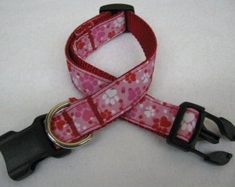 Pink Paw Prints Dog Collar - MULTIPLE SIZES AVAILABLE