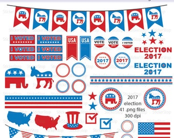 2017 Election Digital Clipart - Instant download PNG files