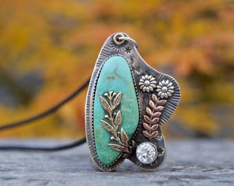Campitos Turquoise Sterling Silver Necklace . Crystal . Flowers . Hand Forged . Sterling Necklace.Rustic. Necklace. Mixed Metals