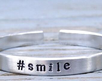 1 #smile bracelet, #smile handstamped bangle, hashtag jewelry, hashtag bracelet, personalized, instajewelry, instabracelet, aluminum