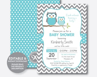 Owl baby shower etsy instant download editable owl baby shower invitation aqua blue owl invitation boy baby filmwisefo Image collections