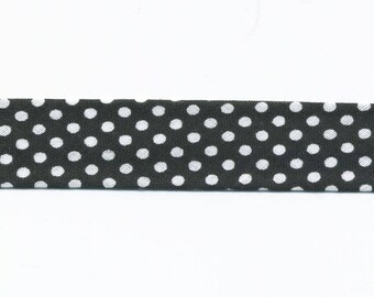 Black bias by the yard with white polka dots, 100% cotton