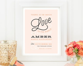Newborn Art Print - World of Love - Customizable 8x10